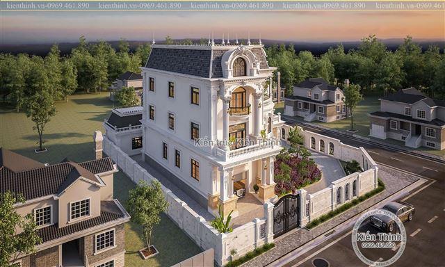 thiết kế biệt thự 3 tầng đẹp theo phong cách tân cổ điển