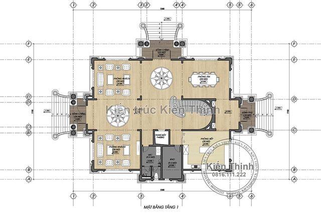 Mặt bằng tầng 1 biệt thự 4 tầng tân cổ điển châu Âu