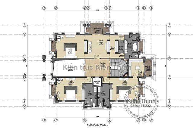 Mặt bằng tầng 2 biệt thự 4 tầng tân cổ điển châu Âu