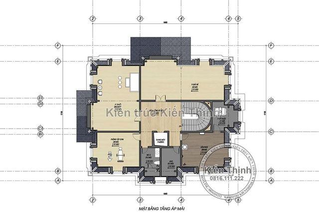 Mặt bằng tầng áp mái biệt thự 4 tầng tân cổ điển châu Âu