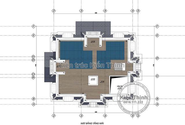 Mặt bằng tầng mái biệt thự 4 tầng tân cổ điển châu Âu