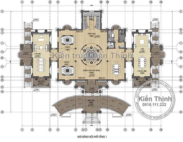 Mặt bằng công năng tầng 1 lâu đài 3 tầng tại Đồng Nai
