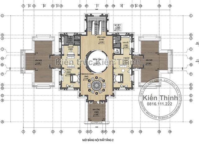 Mặt bằng công năng tầng 2 lâu đài 3 tầng tại Đồng Nai