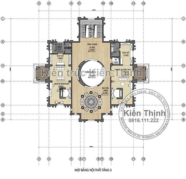 Mặt bằng công năng tầng 3 lâu đài 3 tầng tại Đồng Nai