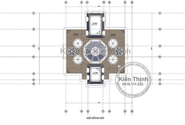 Mặt bằng công năng tầng mái lâu đài 3 tầng tại Đồng Nai