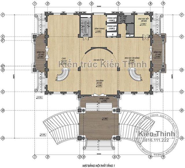 Mặt bằng công năng tầng 1 mẫu khách sạn 3 sao tại Cao Bằng