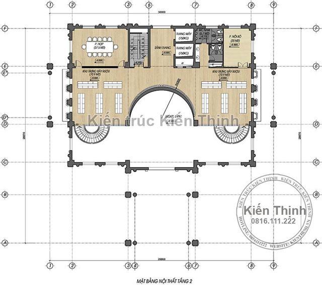 Mặt bằng công năng tầng 2 mẫu khách sạn 3 sao tại Cao Bằng