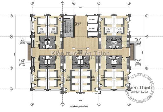 Mặt bằng công năng tầng 4 mẫu khách sạn 3 sao tại Cao Bằng