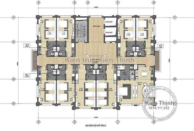 Mặt bằng công năng tầng 5 mẫu khách sạn 3 sao tại Cao Bằng