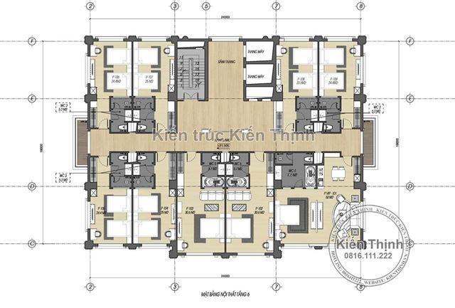 Mặt bằng công năng tầng 6 mẫu khách sạn 3 sao tại Cao Bằng