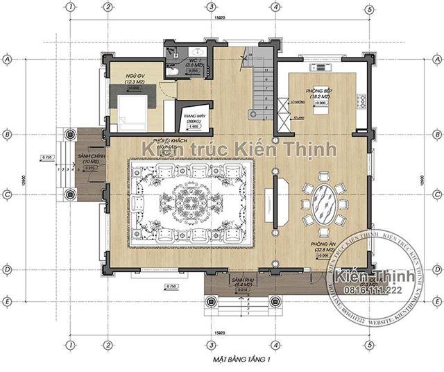 Mặt bằng công năng tầng 1 biệt thự 3 tầng - BT1857