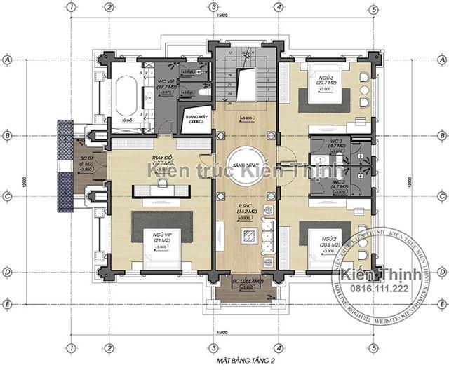 Mặt bằng công năng tầng 2 biệt thự 3 tầng - BT1857