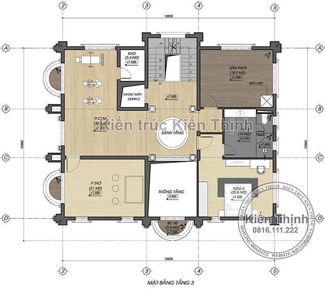 Mặt bằng công năng tầng 3 biệt thự 3 tầng - BT1857