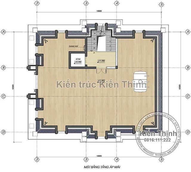 Mặt bằng công năng tầng áp mái biệt thự 3 tầng - BT1857