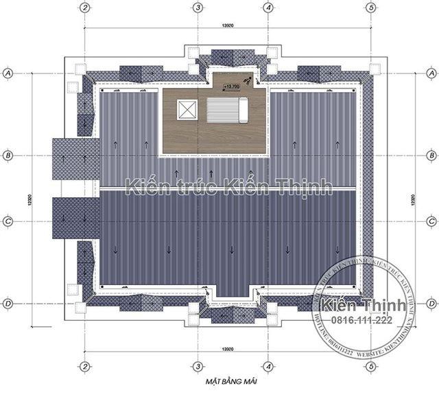 Mặt bằng mái biệt thự 3 tầng - BT1857