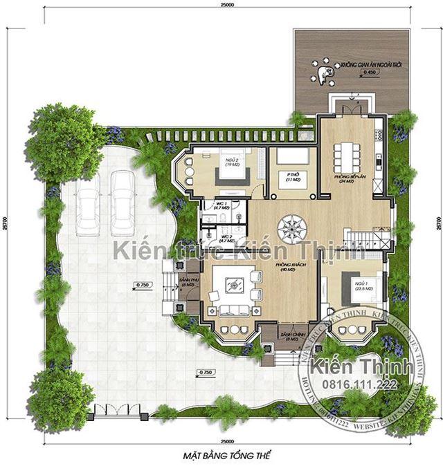 Mặt bằng  tổng thể biệt thự 2 tầng tại Vĩnh Phúc BT1907