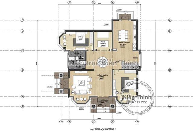 Mặt bằng công năng tầng 1 biệt thự 2 tầng tại Vĩnh Phúc BT1907