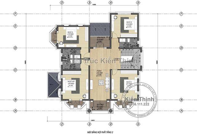 Mặt bằng công năng tầng 2 biệt thự 2 tầng tại Vĩnh Phúc BT1907