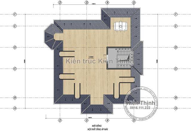 Mặt bằng tầng áp mái biệt thự 2 tầng tại Vĩnh Phúc BT1907