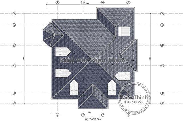Mặt bằng mái biệt thự 2 tầng tại Vĩnh Phúc BT1907