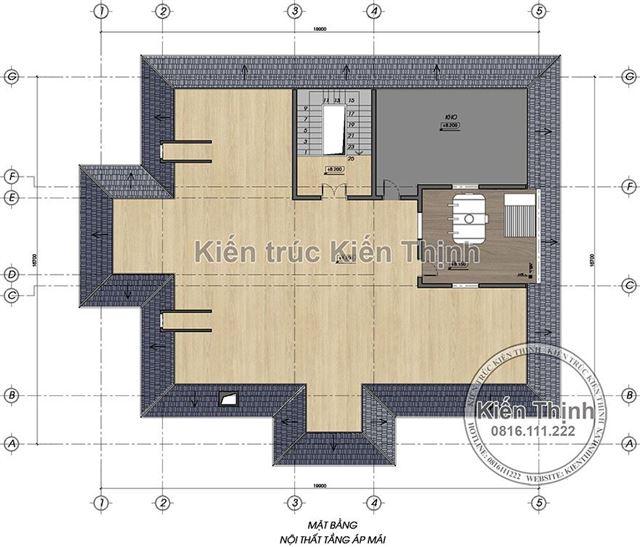 Mặt bằng công năng tầng áp mái biệt thự 2 tầng tại Củ Chi TPHCM