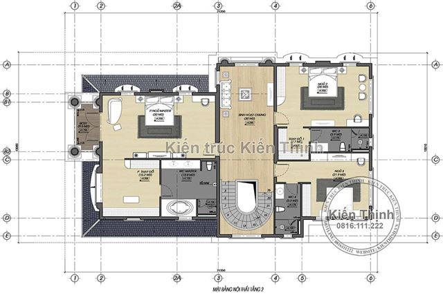 Mặt bằng công năng tầng 2 biệt thự tân cổ điển 3 tầng tại Đồng Nai