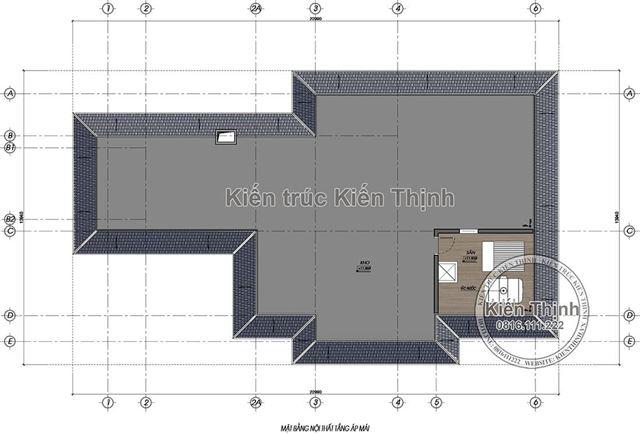 Mặt bằng tầng áp mái biệt thự tân cổ điển 3 tầng tại Đồng Nai