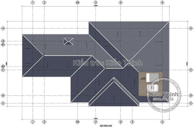 Mặt bằng mái biệt thự tân cổ điển 3 tầng tại Đồng Nai