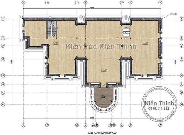 Mặt bằng tầng áp mái biệt thự 2 tầng tân cổ điển tại Đồng Nai
