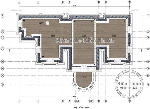 Mặt bằng mái biệt thự 2 tầng tân cổ điển tại Đồng Nai