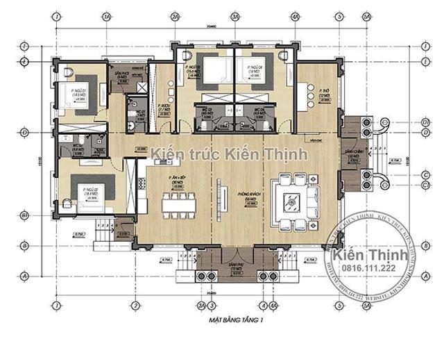 Mặt bằng mẫu thiết kế biệt thự 1 tầng kiến trúc tân cổ điển đẹp tại Hưng Yên