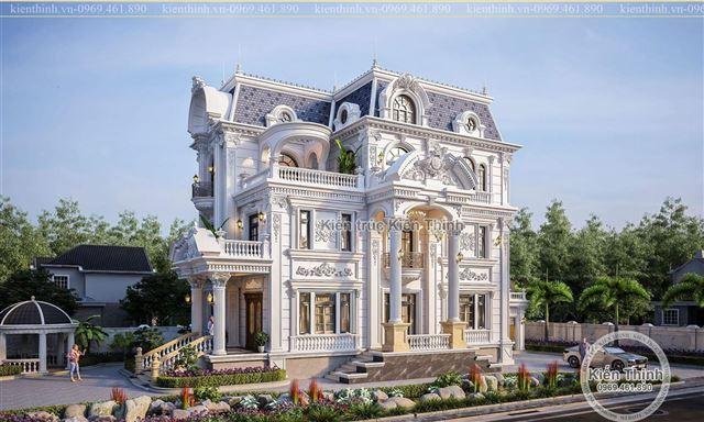 Thiết kế biệt thự 3 tầng theo phong cách tân cổ điển kiểu Pháp