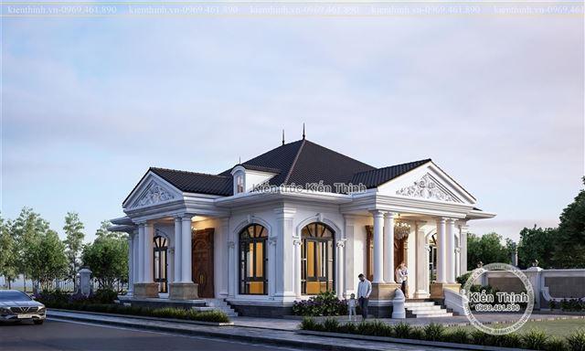 Mẫu thiết kế biệt thự 1 tầng kiến trúc tân cổ điển đẹp tại Hưng Yên