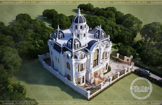 Thiết kế biệt thự dinh thự 3 tầng đẹp phong cách kiểu Pháp sang trọng